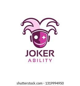 flat style Joker mask face logo design