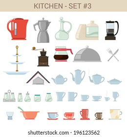 Flat style kitchenware vector icon set. Kettle, pot, sause, food processor, coffee maker,  Bar cafe restaurant collection.