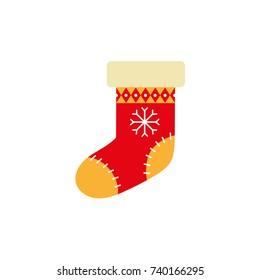 Flat style knitted Christmas stocking, sock, boot, Xmas icon, decoration element, vector illustration on white background. Cute Christmas stocking, flat style icon, decoration element