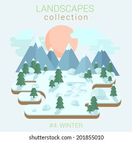 Flat style land scenic winter forest ice frozen lake pond in forest vector template. Landscapes vector illustration collection.