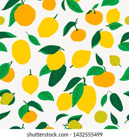 Flat style lemon and oranges seamless pattern. Repeating cartoon citrus fruits and leaves. Tiling green and yellow hand drawn citron objects for textile, print, fabric, backdrop, wallpaper, background