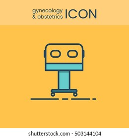 Flat style and linear design icons of gynecology and obstetrics concept. Logotype, sign and icon for print design, web, landing page and infographic. Baby incubator icon