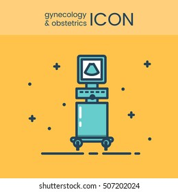 Flat style and linear design icons of gynecology and obstetrics concept. Logotype, sign and icon for print design, web, landing page and infographic.