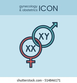 Flat style and linear design icons of gynecology and obstetrics concept. Logotype, sign and icon for print design, web, landing page and infographic