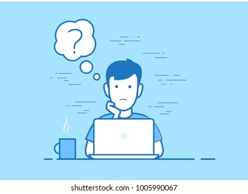 Flat style linear young sad man working laptop and sinking office workplace website slider banner infographics vector illustration web icons concept. Male sitting at pc computer, question chat cloud
