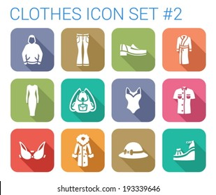 Flat style long shadow clothes silhouette vector icon set.  Hoody, bra, coat, hat, footwear, shirt, backpack, bathrobe, dress etc.