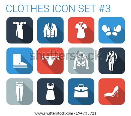 Flat Style Long Shadow Clothes Silhouette Stock Vector (Royalty Free