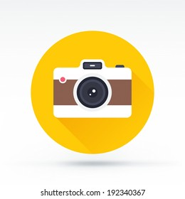 Flat style with long shadows, camera vector icon illustration.
