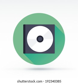 Flat style with long shadows, cd and its box vector icon illustration.