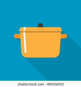 Flat style with long shadows, cooking pot vector icon illustration.