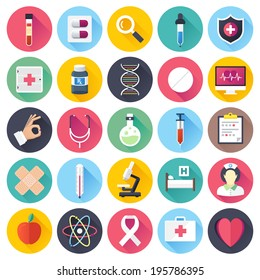 Flat style with long shadows, health care and medicine illustrations icons set.