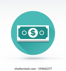 Flat style with long shadows, money bill vector icon illustration.