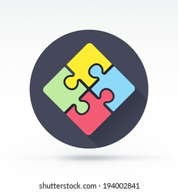 Flat style with long shadows, puzzle vector icon illustration.