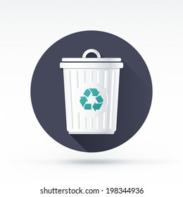Flat style with long shadows, trash can vector icon illustration.