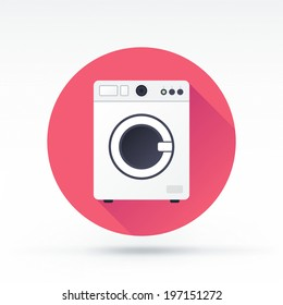 Flat style with long shadows, washing machine vector icon illustration.