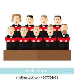 Flat style male choir in two raws with black suits and red cover notes on white