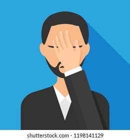 Flat style of man with a gestures facepalm expression. Man with hand flopping her forehead. Headache, disappointment or shame. Epic fail emotion. Isolated vector illustration.