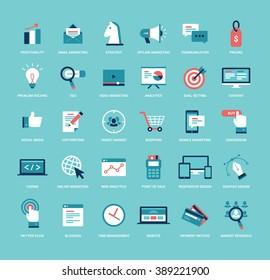 Flat style marketing icon set. Business, seo, online, offline, digital marketing, video marketing, social media illustrations.