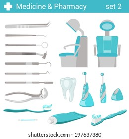 Flat style medical dental hospital equipment icon set. Dentist seat, toothbrush, toothpaste, tooth, mirror, forceps. Medicine pharmacy collection.