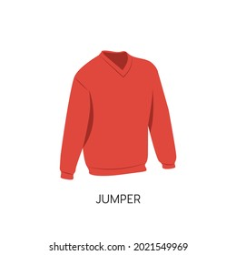 Flat Style Men's Work Jumper Vector illustration. Mens Classic Jumper  vector icon isolated on white background. Cartoon style red jumper pictogram. Simple Clothes for Men Symbol icon