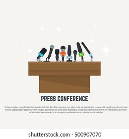 Flat style microphones. Press conference concept illustration.