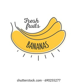 Flat style minimal trendy banana bubble, price tag, sale sticker, badge. Vector illustration