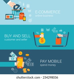 Flat style mobile online e-commerce icons