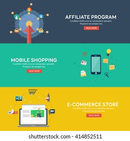 Flat style mobile shopping, e-commerce store and affiliate program. Concepts for web banner and printed materials. Vector illustration.