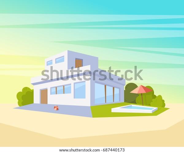 Image vectorielle de stock de Maison à l\'architecture ...