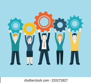 Flat style modern business people turn up cog wheel gear infographic concept. Conceptual web illustration teamwork workforce corporate spirit. Businessman and businesswoman pieces of company mechanism