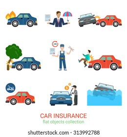 Flat style modern car insurance icon pack set. Accident damage loss injury harm defect evacuator tow truck robbery policy salvage certificate worker manager. Transport service flat collection