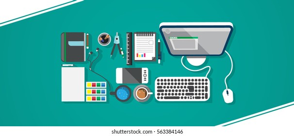 Flat Style Modern Design Concept of Creative Office Workspace. Icons Collection of Business Work Flow Items and Elements, Office Things, Objects and Equipment for Workplace Design. Copy space.