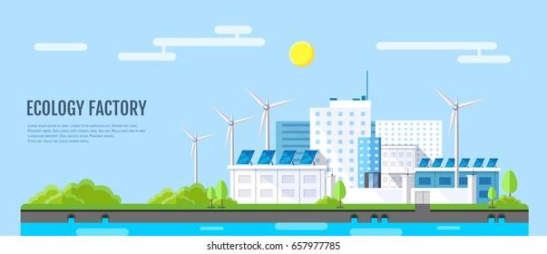 Flat style modern design of ecology factory landscape