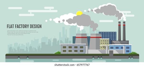 Flat style modern design of industrial factory landscape