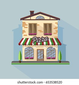 Flat style modern icon design of pizza cafe building. Retro old town design