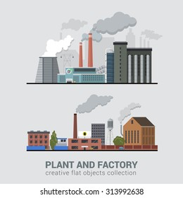 Flat style modern multi color set of stylish pollutive heavy industry plant factory manufacture buildings production business process. Eco unfriendly hostile atmosphere pollution chimney smoke concept