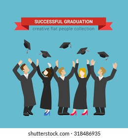 Flat style modern people icons successful graduate students education knowledge school university college web template infographic vector concept. Happy graduates in uniform throwing caps.