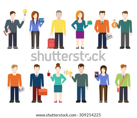 Flat Style Modern People Icons Professional Stock Vector ...