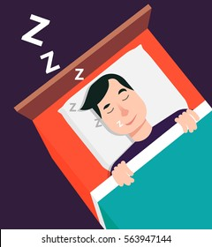 Flat style modern vector illustration isolated on violet background. A man sleeps on his back in bed. A man snores and seeing dreams.