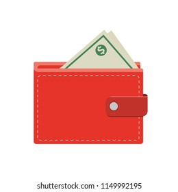 Flat style money wallet,isolated on white background,vector illustration