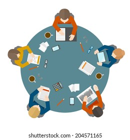 Flat style office workers business management meeting and brainstorming on the round table in top view vector illustration