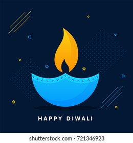 Flat style oil lamp in sky blue and yellow color on blue backgroud for Happy Diwali celebration.