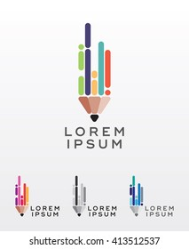 Flat style pencil icon or logo design element, editable abstract vector, simple and clean lines, strong visual message