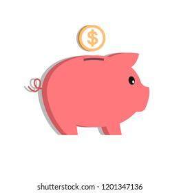 Flat style piggy bank icon.