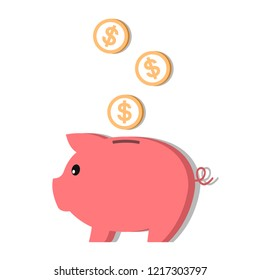 Flat style piggy bank icon. Vector. Isolated on white background.