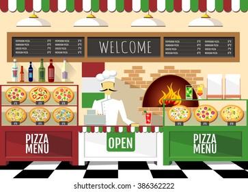 Flat style pizzeria interior