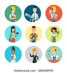 Flat style professional people character profile avatar userpic vector icon set. Professions builder, driller, doctor, florist farmer, scientist telescope, teacher, gardener, carpenter, photographer