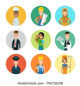 Flat style professional people character profile avatar userpic vector icon set. Professions policeman, florist, businessman, plumber, chief cooker, builder engineer, waiter, cleaner, fireman, worker