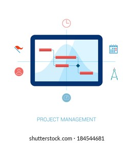 Flat style project management, planning, resource allocation and gantt chart on computer vector icons illustration.