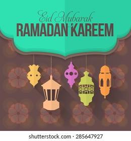 "Flat Style Ramadan Kareem Background Hanging Lambs, Lanterns.. Arabic Text ""Eid Mubarak"", ""be Blessed"" at English"